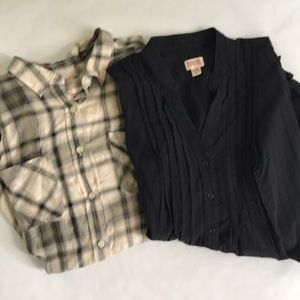 Mossimo Tops Black Tunic & Olive Plaid Button Down